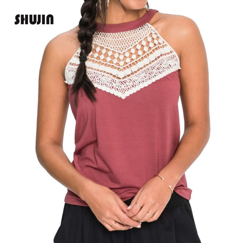 SHUJIN Women Fashion Sleeveless Lace Crochet Hollow Out Vest   Tanks     Top   2018 Casual Halter T-Shirt Camisole Female Plus Size