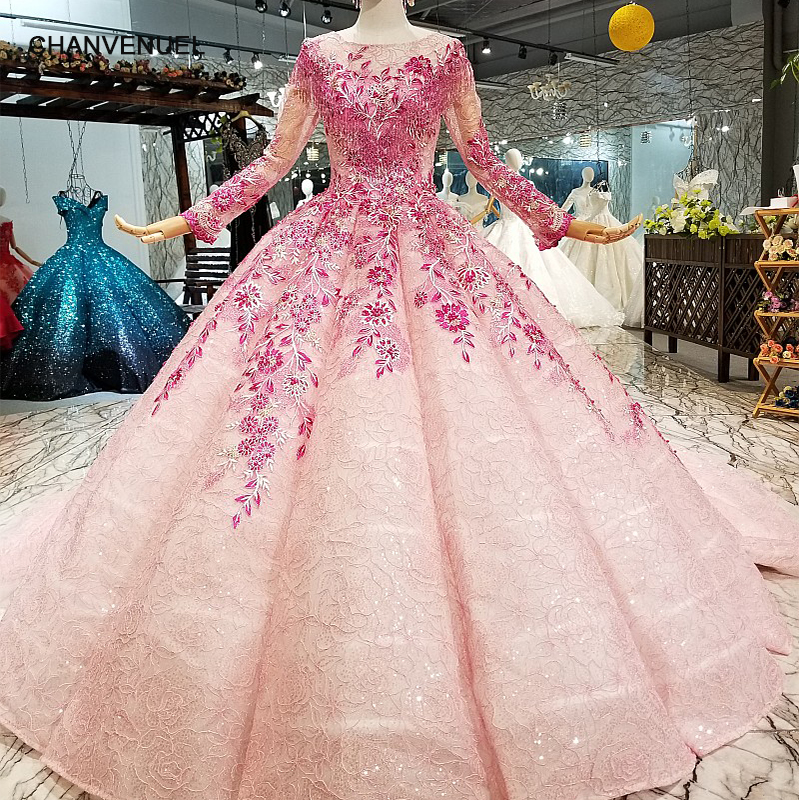 LS66880 muslim colorful cheap evening dress long sleeves o neck pink flowers ball gown beauty girls pageant dress with headwear