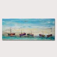 Ручная роспись на холсте, картина с морским пейзажем, Современная гостиная, домашний декор, лодка, пейзаж, картина маслом на холсте