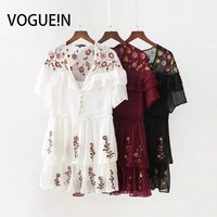 VOGUEIN New Womens Vintage Embroidery Deep V Neck Short Sleeve Ruffled Detail Mini Dress 3 Colors