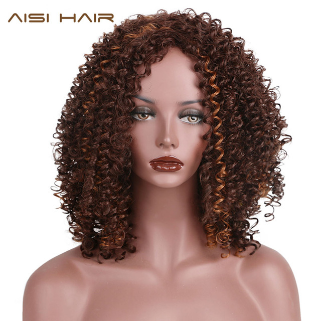AISI RAMBUT Afro Keriting Keriting Rambut Sintetis Wig untuk Wanita Hitam  Panjang Dark Brown Mixed Blonde ef70a6925f