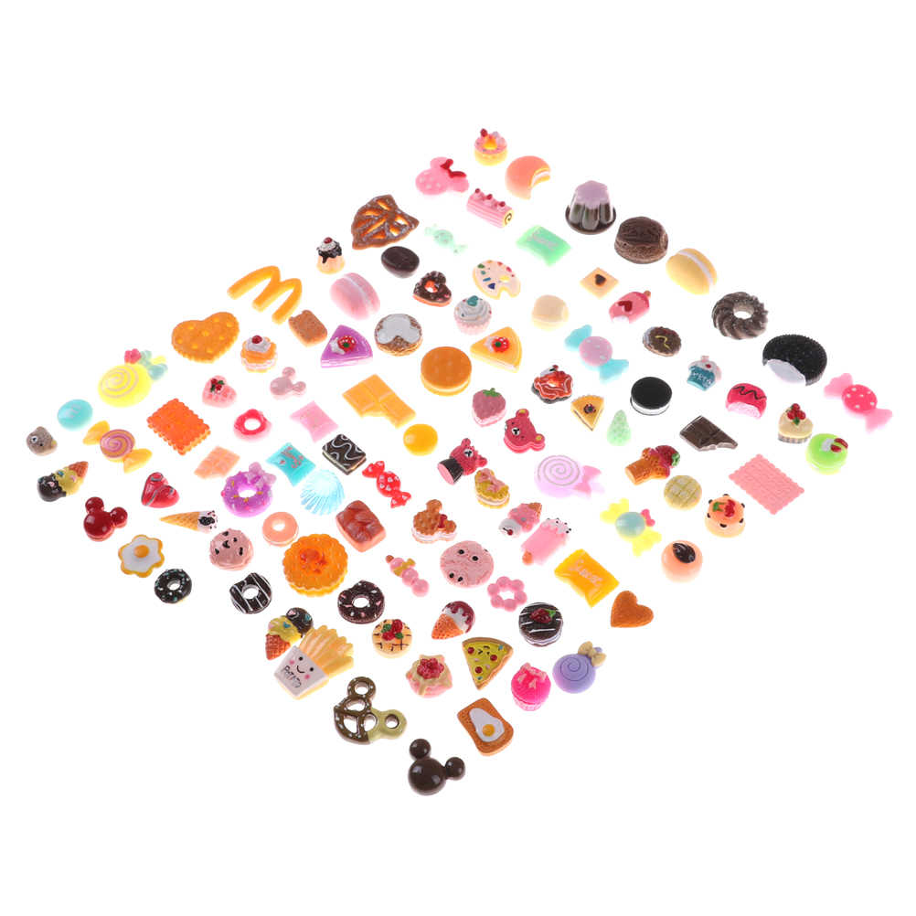 Kawaii 10 pcs Mixed Food Set Mini Donuts Bolos Biscuit Comida Casa De Bonecas Em Miniatura Decoração Da Cozinha para Crianças Kid Enviados Aleatoriamente