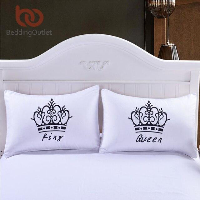 beddingoutlet 2 pieces couronne royale oreiller cas reine et roi designer oreiller couvre decoratif couple oreiller
