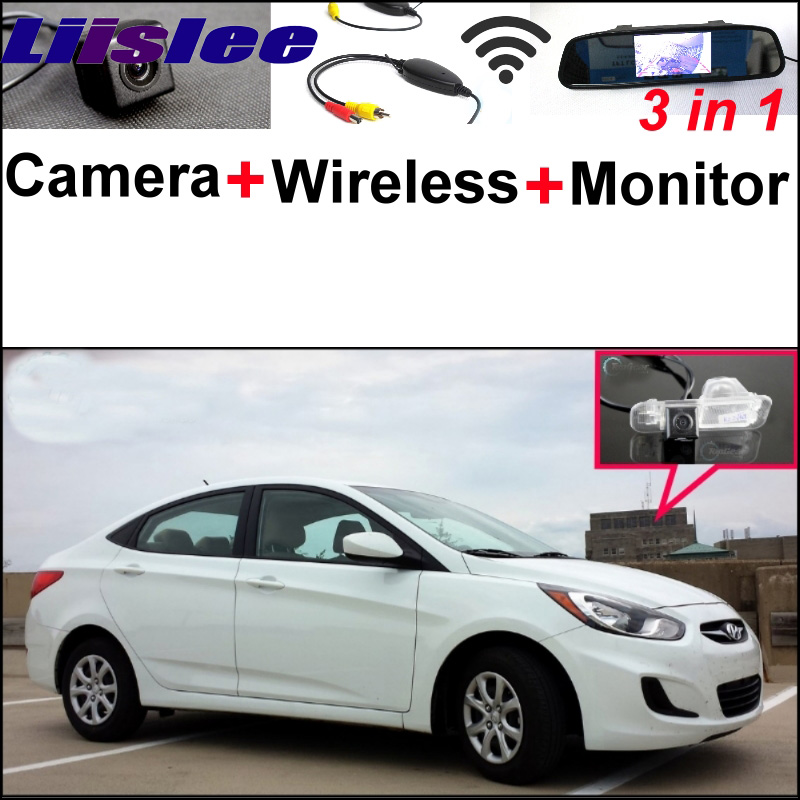 3 in1 Special Rear View Camera + Wireless Receiver + Mirror Monitor DIY Back Up Parking System For Hyundai Accent RB Sedan free shipping ina132ua ina132 new sop8 10pcs lot ic