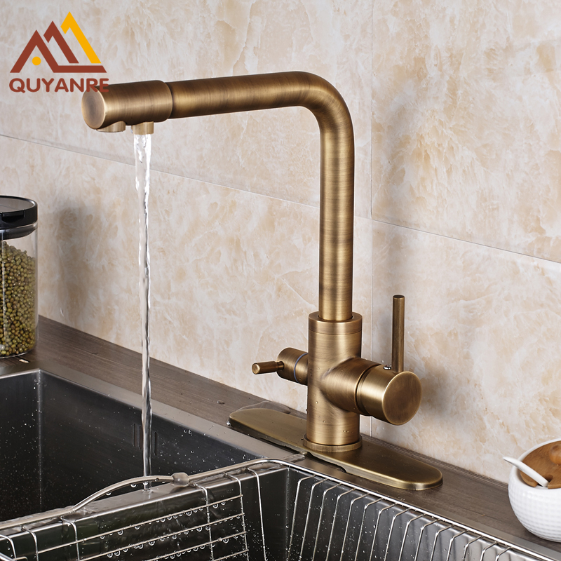 New Popular Retro Style Antique Brass Kitchen Faucet Two Waterout Long Swivel Spout Pure Water Purification