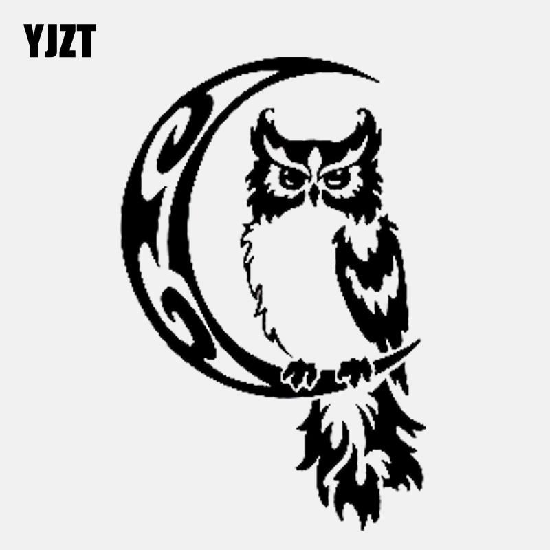 YJZT 8.4CM*13CM Owl Bird on Moon Tribal Pattern Vinyl Black/Silver Creative Car Sticker C22-0965(China)