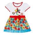 Novatx h4371 crianças falso duas peças vestido da menina vestidos de verão dos desenhos animados caráter bonito das crianças roupas de bebê vestidos de bolinhas