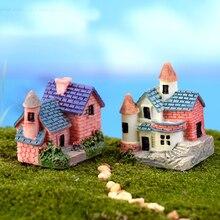 4PCS Pretty Small Villa Resin Ornament DIY Micro Landscape Accessories Mini House Diy Miniature Garden Decorations and Ornaments