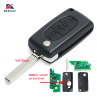 KEYECU 10x Replacement Flip Remote Car Key Fob 433MHz with Electronic ID46 for Peugeot 207 307 308 407 ,Citroen C2 C3 2005 2011