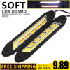 1Pair COB LED DRL Daytime Running Lights White With Yellow Turn Signal Driving Lamp Bar IP65