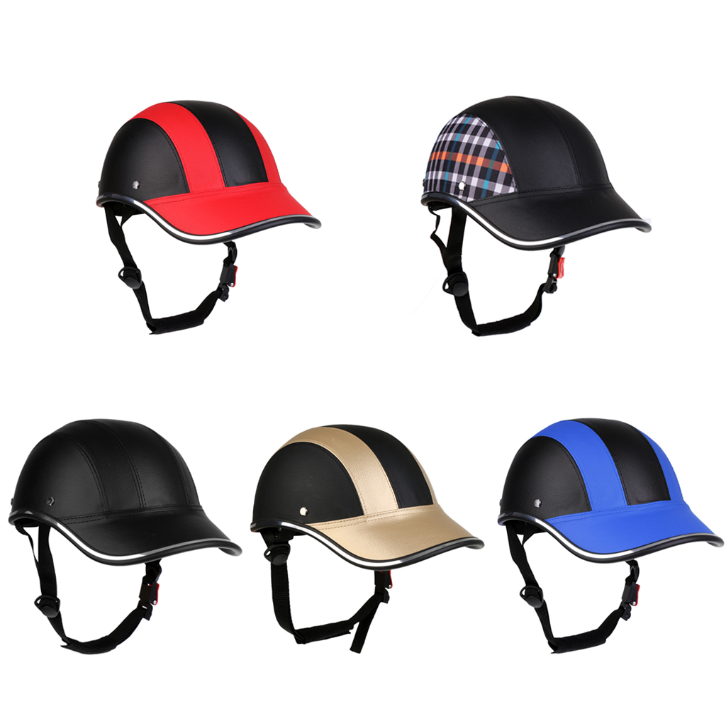 Cycling Helmet Visor Baseball-Cap Bike Protective with Pu-Hat Open-Face ABS Half