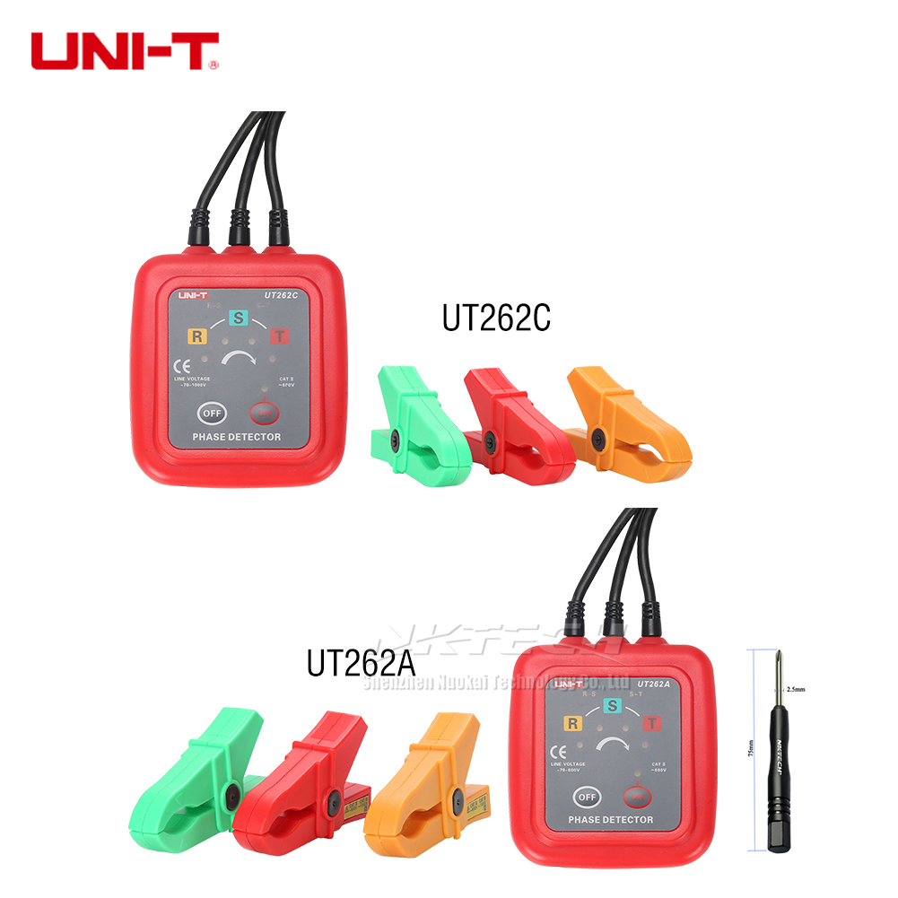 UNI-T UT262C UT262A Non-contact 3 Phase Detector Sequence Recognition Missing Judgment Tester Current Meters Multimeter Buzzer 1 7 lcd non contact phase detector black 2 x aa