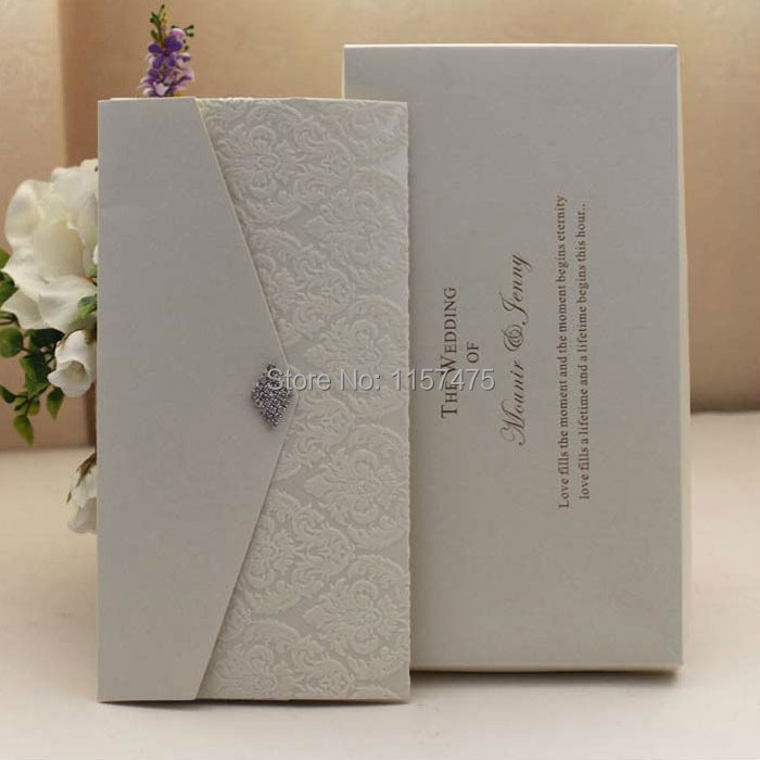online shop hi6009 customized beige pocket fold wedding invitation cards with ivory flocking and rhinestone brooch aliexpress mobile