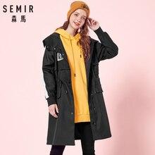 89fa1d9a549d SEMIR Femmes Longue veste à capuche avec Des Fentes à Côté Zip et  Bouton-Pression