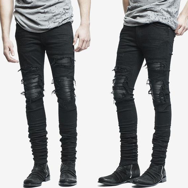 New Dropshipping Men's Jeans Ripped Skinny Biker Jeans Destroyed Frayed Slim Fit Hole Rock Hip Hop Denim Pants Pencil Pants 2016 new fashion mens designer ripped stretch biker jeans slim fit elastic skinny pencil jean pants famous brand black red white