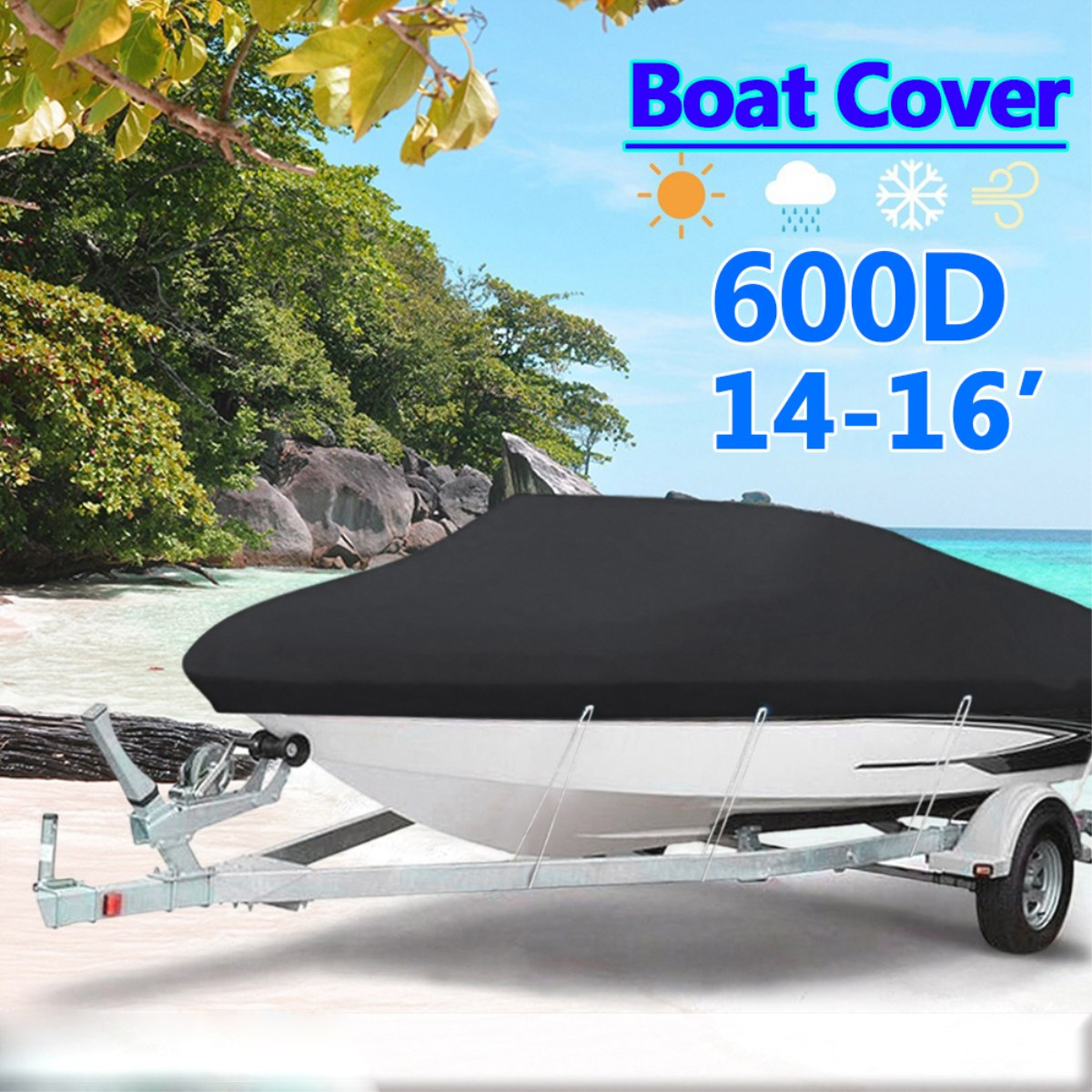 Black Heavy Duty 14-16ft 600D Beam 90inch Trailerable Marine Grade Boat Cover for Yacht Boat Waterproof Anti-UV Boat Accessories heavy duty 60v 600a marine dual battery selector switch for boat rv semi motor yacht boats red abd black page 9