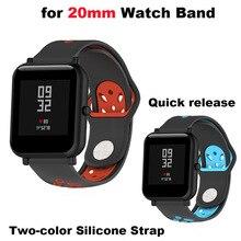 Купить с кэшбэком Silicone Strap 20mm Smart Watch Bracelet Correa Band for Xiaomi Huami Amazfit Bip Lite for Samsung Gear S2 S4 for Huawei Watch 2