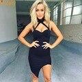 2016 new sexy lady mulheres elastic celebridade bandage vestido bainha halter strap club party mini vestidos apertados HL551