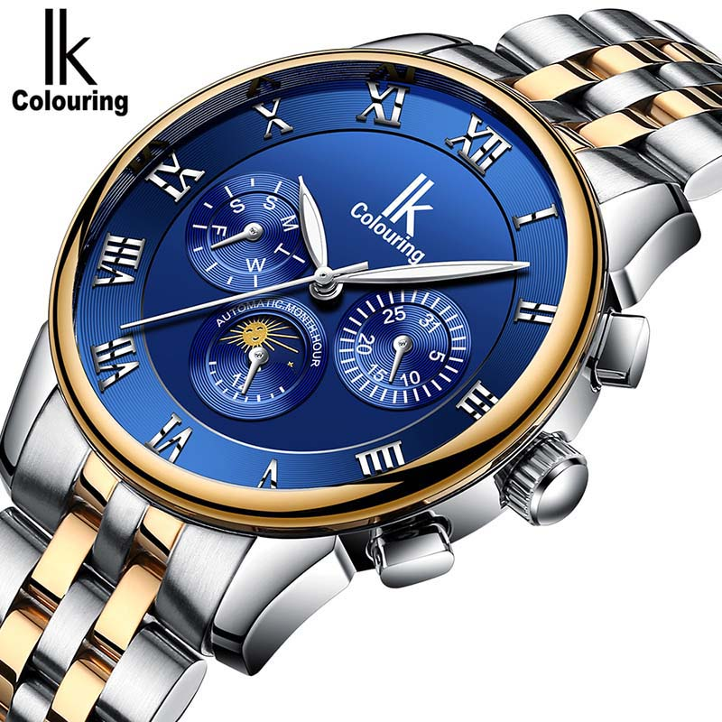 IK Colouring Mens Watches Brand Luxury Auotmatic Mechanical Watch Mens Steel Luminous Business Dress Fashion Clock relogio ik colouring gold skeleton mechanical hand wind watches men luxury brand business dress silver steel watch male clock relogio