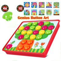 3D Puzzles Toys Button Art Color Matching Mosaic Pegboard Creative Mosaic Mushroom Nail Kit Educational Toys