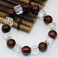 10mm white crystal 12mm natural red tiger stone jasper round beads bracelets for women free shipping charm jewelry 7.5inch B2941