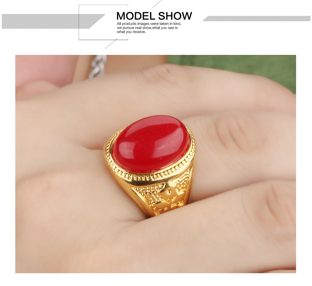 Fate Love Classic Vintage Gold Color Rings 3 Colors Big Oval Stone ...