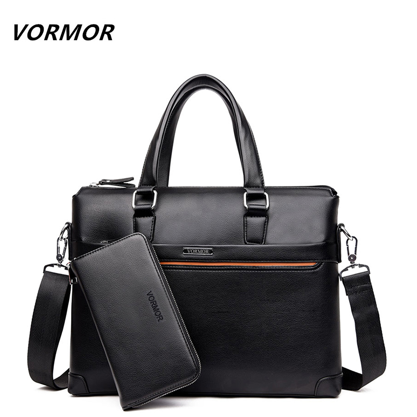 VORMOR 2 Set Handbag Men Messenger Bags PU Leather Man Bags Fashion Male Men's B