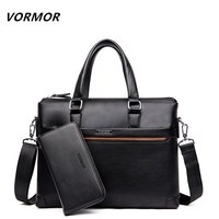 VORMOR 2 Set Handbag Wallet Men Messenger Bags PU Leather Man Bags Fashion Male Men S