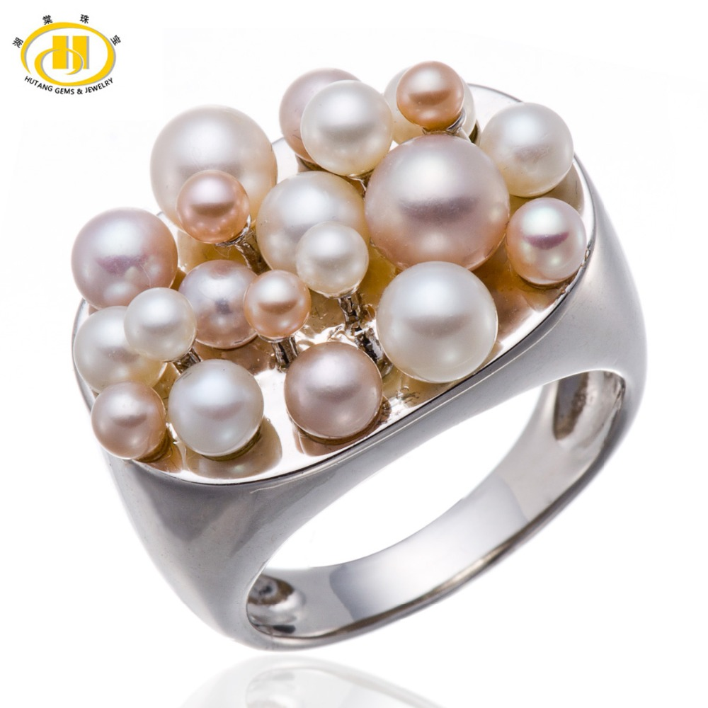 Hutang Pearl Jewelry Pink & White Natural Freshwater Pearl Solid 925 Sterling Silver Cluster Ring Fine Jewelry Gift for Women jyx 9 5mm pink genuine freshwater pearl ring shiny crystal in 925 sterling silver jewerly