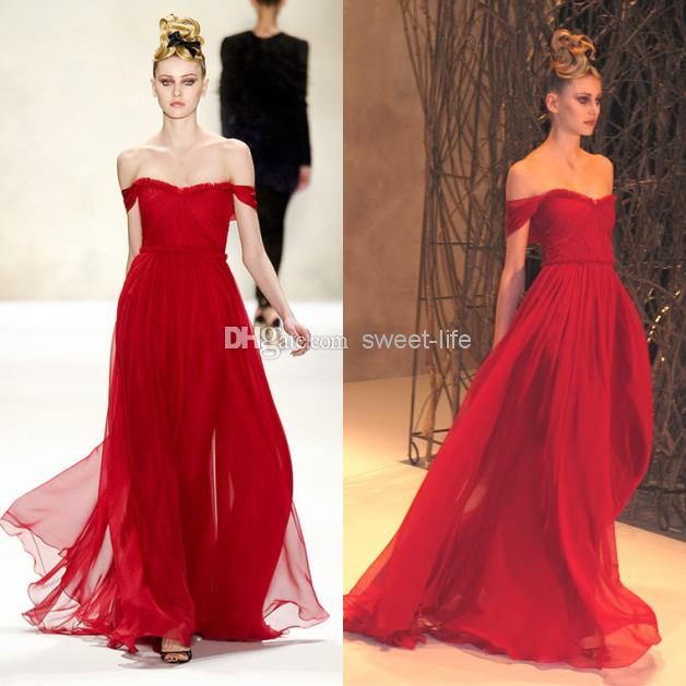 Long Red Chiffon Dress