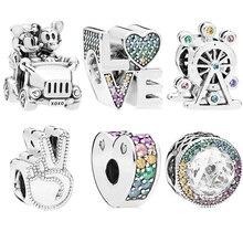 Trendy Silver 925 Rainbow Zircon Mickey Minnie Love Elephant Charms Fit Original Pandora Bracelet Pumpkin Beads Women Gift
