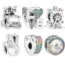 Trendy Silver 925 Rainbow Zircon Mickey Minnie Love Elephant Charms Fit Original Pandora Bracelet Pumpkin Beads Women Gift(China)