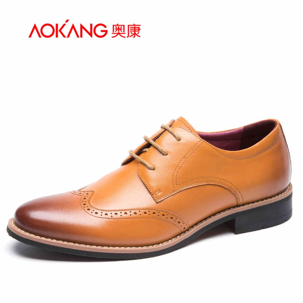 Aokang New arrival Genuine Leather men shoes Casual Flats Dress Shoes Men Autumn Oxfords Shoes For Mens Loafers Zapatos Hombre npezkgc new arrival casual mens shoes suede leather men loafers moccasins fashion low slip on men flats shoes oxfords shoes