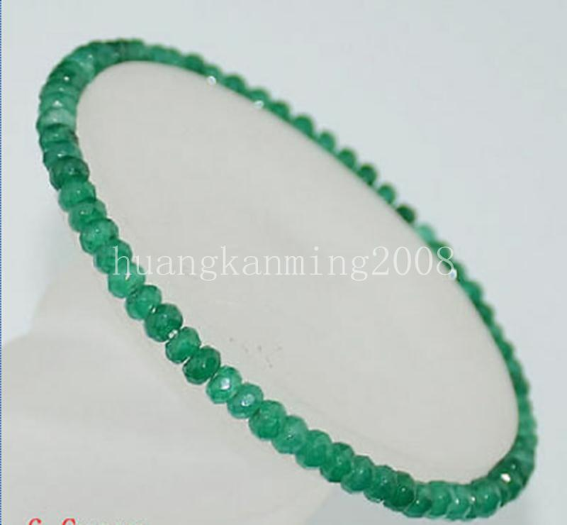 AAA Natural 2x4mm Faceted Green Emerald Gem Beads Stretchy Bracelet 6