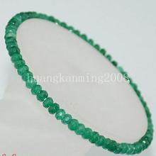"""AAA натуральный 2x4 мм граненый зеленый изумруд драгоценный камень бусины эластичный браслет """"-8,5"""""""