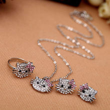 1PCS Clear Rhinestone Lovely Cat Ear Stud Earring Necklace Ring Shiny Crystal Cute Cat Stud  Ring Necklace For Party Gift
