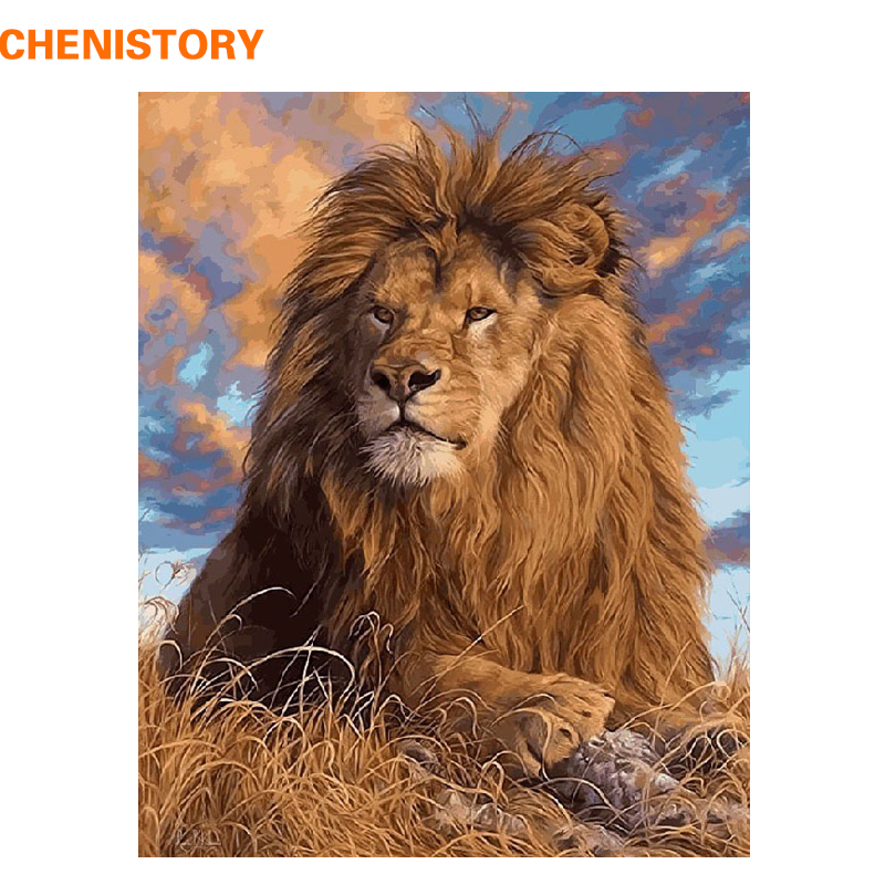 CHENISTORY DIY Oil Painting By Numbers Kit Animals Lion Painting On Canvas Home Decoration Home Wall Art Picture Artwork 40x50cm
