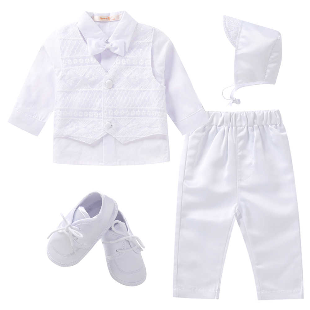 Gooulfi Baby Boy Clothes for Church 6-6 Months Formal Sets Baby Boy  Christening Outfits Cotton White Baby Boy Clothing Newborn