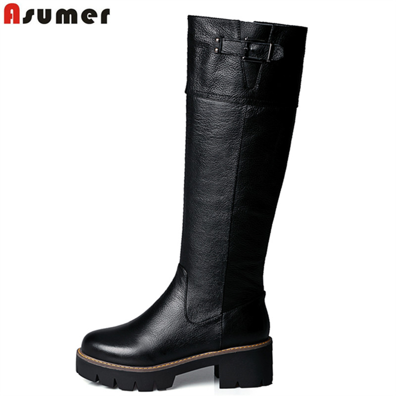ФОТО 2016 New Arrival pu+genuine leather riding boots square med heel fur platform winter knee high boots women motorcycle boots