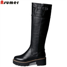 2016 New Arrival pu+genuine leather riding boots square med heel fur platform winter knee high boots women motorcycle boots