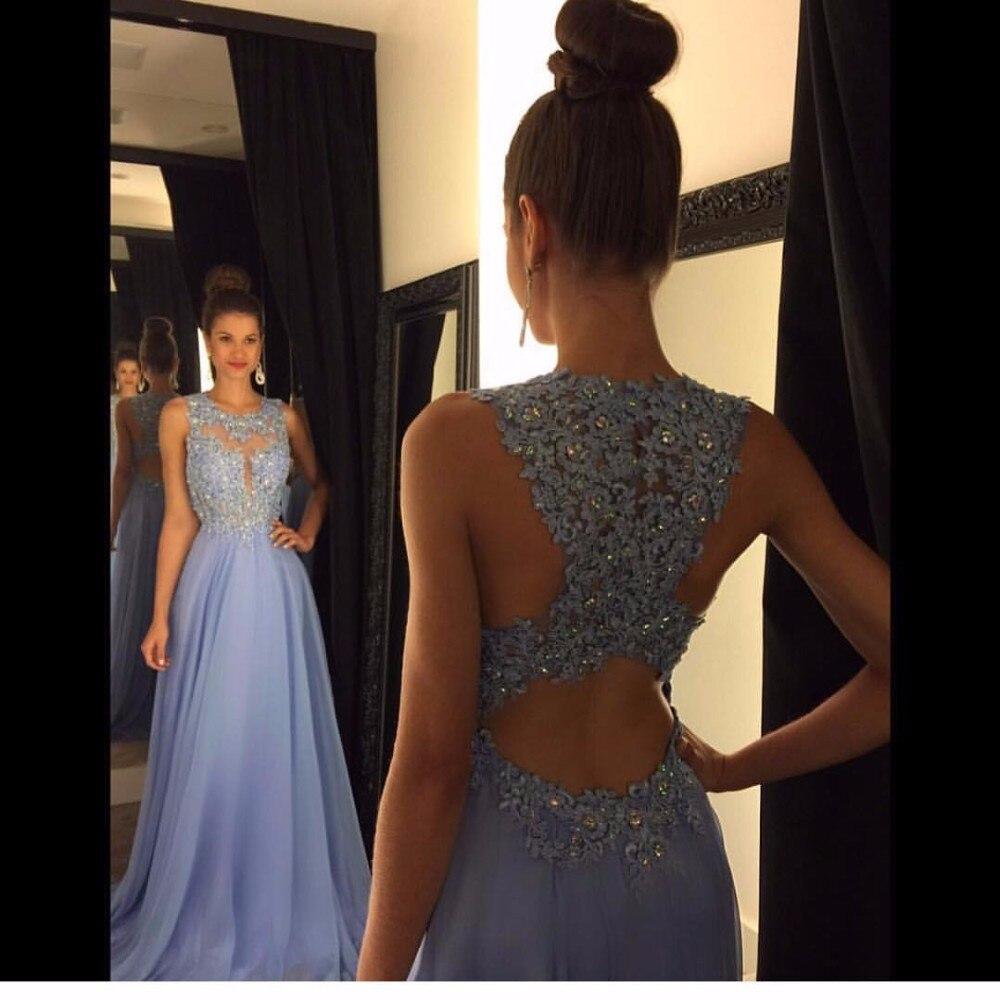 Linyixun Photo réelle Sexy O cou une ligne en mousseline de soie dentelle Appliques perlées bleu clair longues robes de bal 2019 Court Train robes de bal