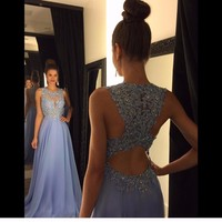 Linyixun Real Photo Sexy O Neck A Line Chiffon Lace Appliques Beaded Light Blue Long Prom Dresses 2017 Court Train Prom Gowns