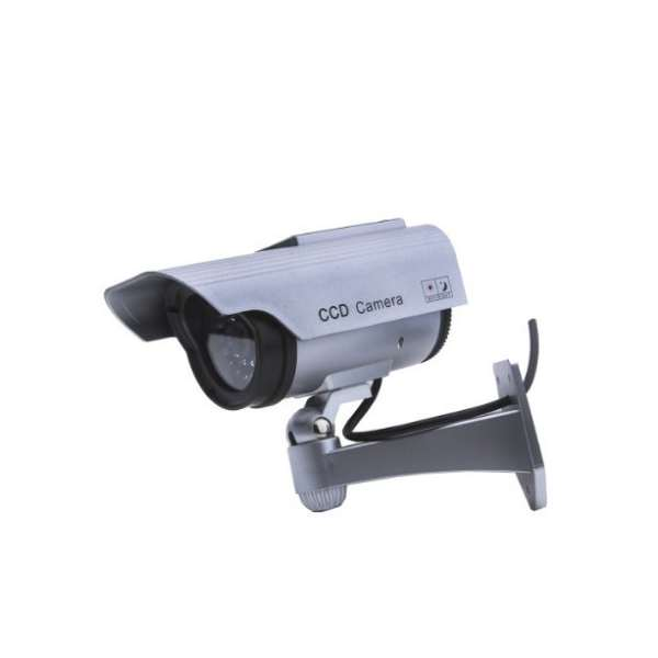 Solar Dummy Security Camera with Blinking Light Silver solar dummy security camera with blinking light silver