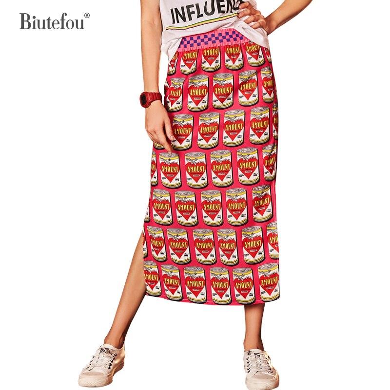 Moda 2019 Falda Imprimir Chic Red Mujeres Dividir Alta Nueva Cintura De Faldas Verano Llegada nAn5F