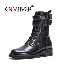 ENMAYER Women Ankle Boots Round Toe Shoes woman Size 34-40 Thick Med Heels Buckle Fashion Boots Winter Motorcycle Boots CR744