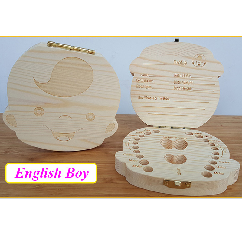 English/Spanish Wooden Box Tooth Box Organizer Save Milk Teeth Box Storage Teeth Gift Umbilical Cord Lanugo caja madera 11