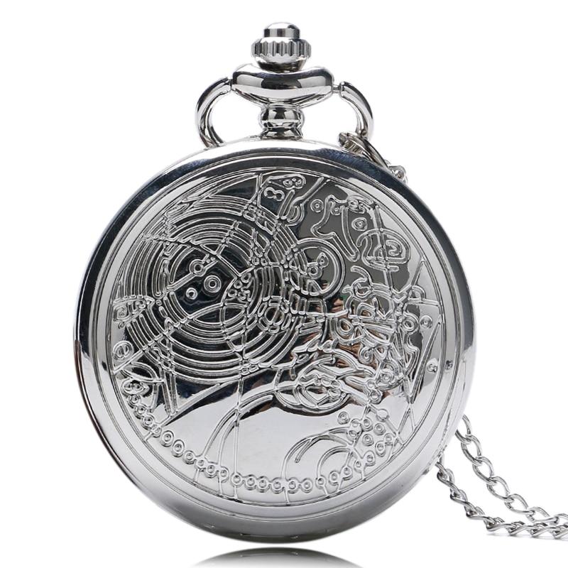 Урожай Доктор Хто Дизайн Кишенькові Годинники Кольє Срібний Кулон Годинники Кварцові Fob Годинники Relogio Reloj Plata  t