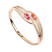 2 Colors Austrian Crystal 18K Rose Gold Plated Vintage Bangles Bracelets Small Wrist Fashion Costume Jewelry