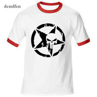 Summer New Casual Punisher Skull Marvel T Shirts For Man Streetwear Hip Hop Men Raglan Sleeve