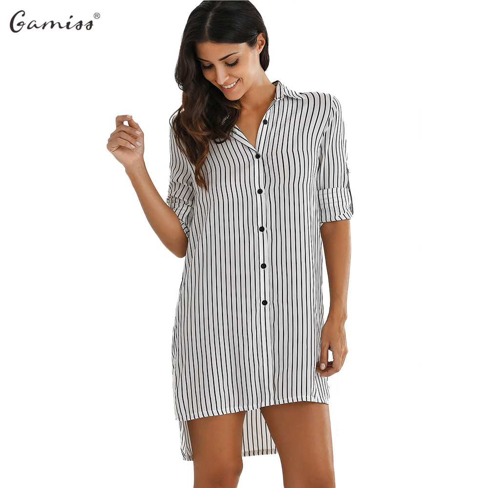Gamiss Bf Style Striped Loose T Shirt Dress Trendy Turn Down Collar